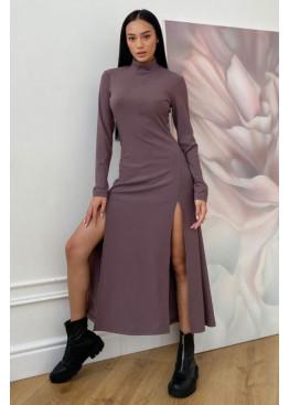 Платье Рената облегающего кроя с высокими разрезами по бокам, мокко