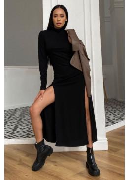 Платье Рената облегающего кроя с высокими разрезами по бокам, черный