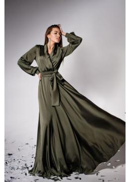 """Элегантное вечернее платье из шелка """"Армани"""" Shine, хаки"""