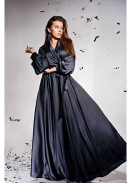 """Элегантное вечернее платье из шелка """"Армани"""" Shine, графит"""