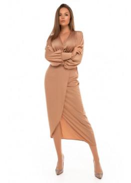 Шелковое платье насыщенного оттенка Силк М20 темный беж