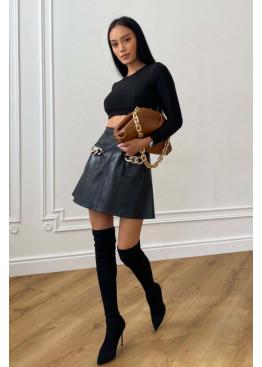 Кожаная короткая юбка Венециано черный