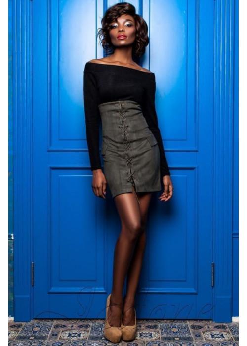 Необычный, эффектный юбка-сарафан из замши хаки
