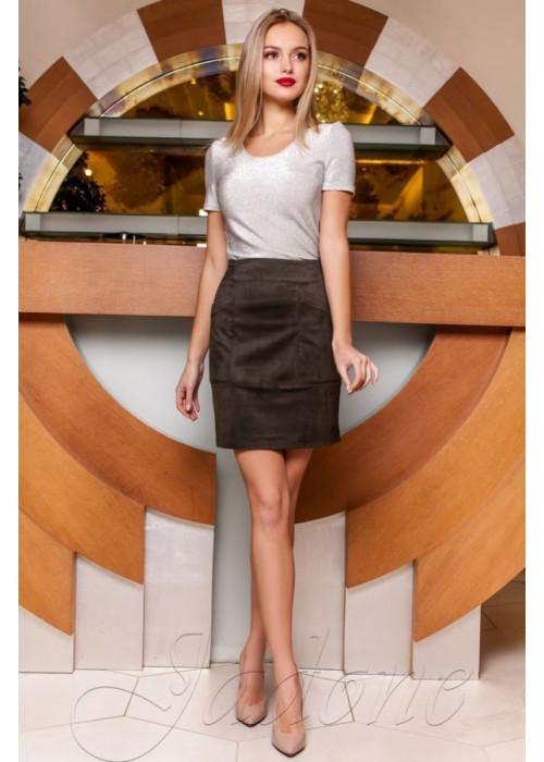 Стильная замшевая юбка хаки в форме легкой трапеции