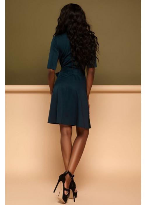 """Cдержанное и кокетливое платье """"на запах"""" изумрудного цвета"""