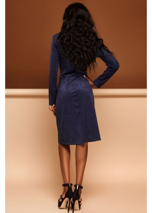 Платье-кардиган синего цвета из эко-замши
