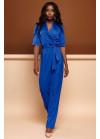 Роскошный синий комбинезон, выполнен в стиле брючного костюма