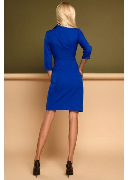Красивое, стильное, синее платье с необычной геометрией кроя
