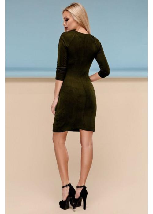 Сдержанное облегающее платье цвета хаки