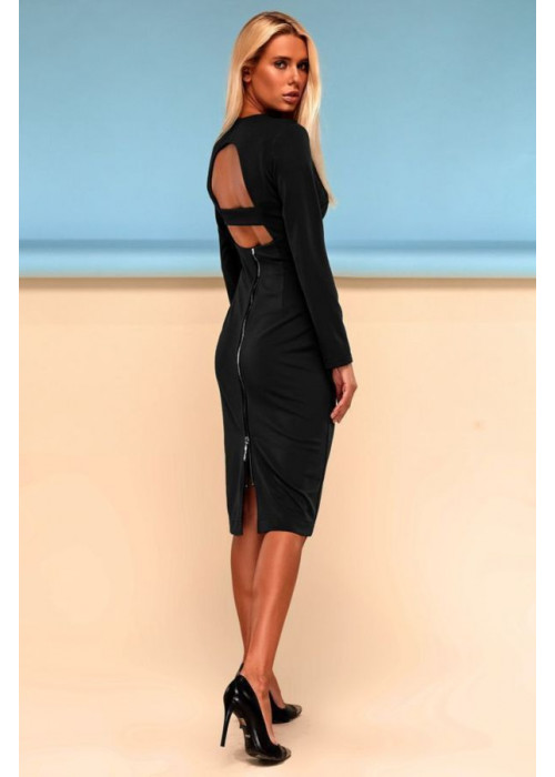 Шикарное платье футляр миди черного цвета