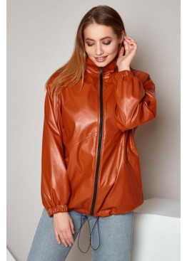 Куртка из экокожи oversize Бест кирпичная