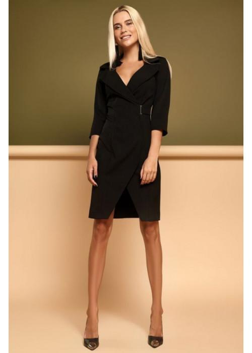 Красивое, стильное, черное платье с необычной геометрией кроя