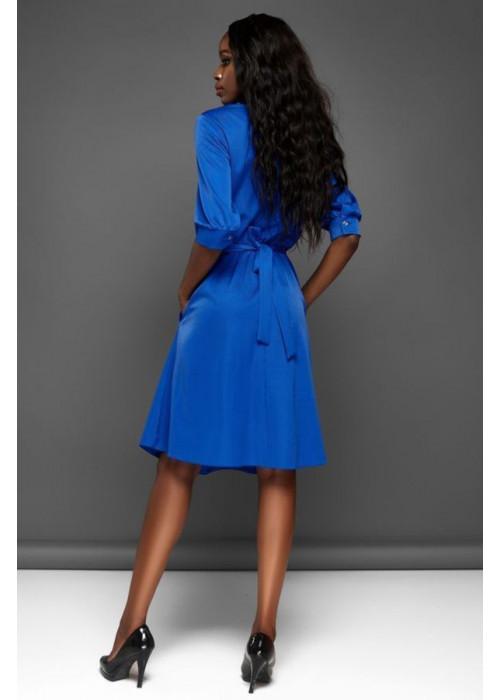 Отличное платье с юбкой полусолнце синего цвета
