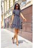 Легкое летнее платье в горох с воланом по низу и бантиками на рукавах