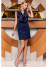 Стильная синяя замшевая юбка в форме легкой трапеции