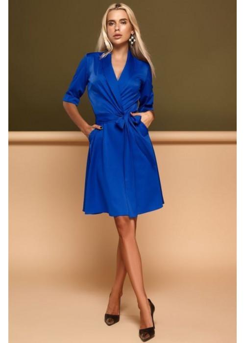 """Cдержанное и кокетливое платье """"на запах"""" синего цвета"""