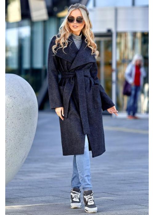 Облегченное пальто без подкладки тёмно синее