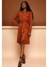 Платье-кардиган кирпичного цвета из эко-замши