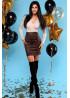 Комбинированное платье из эко-замши и люрекса, бежево-шоколадное