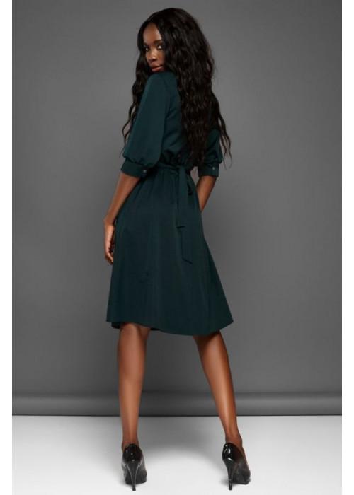 Отличное платье с юбкой полусолнце изумрудного цвета