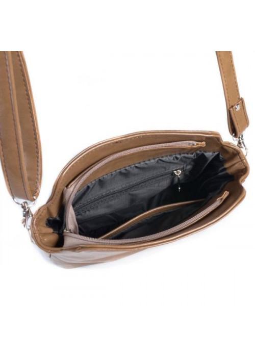 Женская кофейная кожанная сумочка