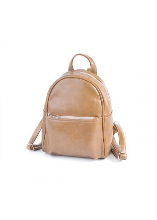 Женский маленький рюкзак, кофейный, эко-кожа