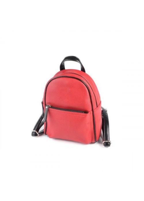 Женский маленький рюкзак, красный, эко-кожа