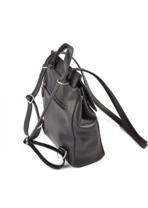 Женский рюкзак-трансформер, черный, эко-кожа