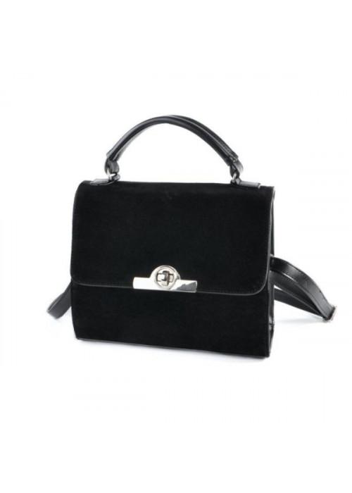 Женская сумка-чемоданчик, черный замш