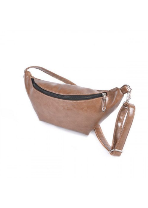 Женская сумка на пояс, бананка, кофейная
