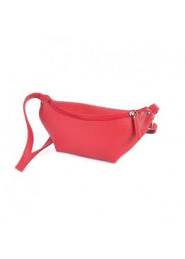 Женская сумка на пояс, бананка, красная