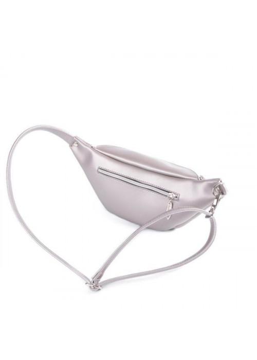 Женская сумка на пояс, бананка, серебро