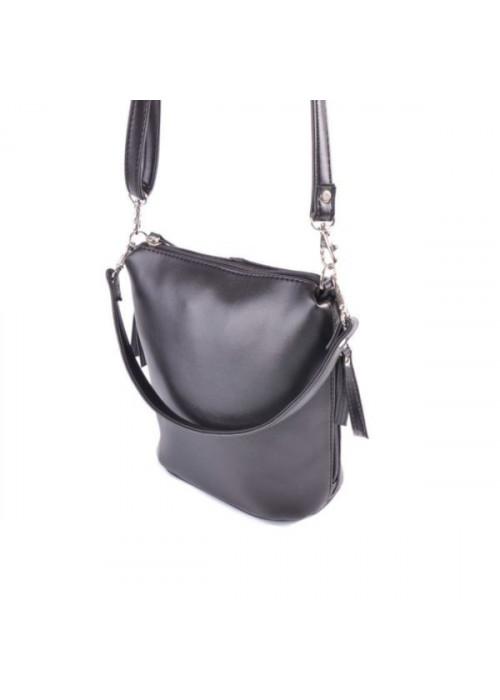 Женская сумка через плечо с молнией сбоку, черная