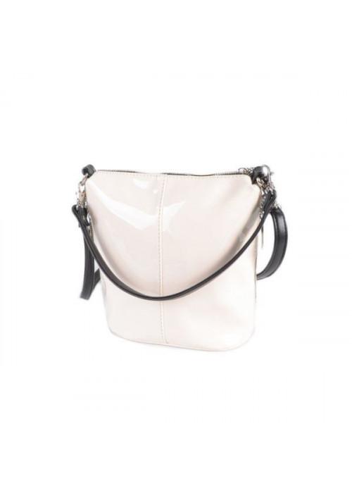 Женская сумка через плечо с молнией сбоку, молочная