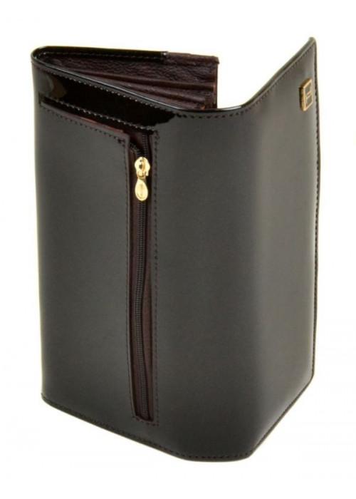 Женский лаковый кошелек Bretton, коричневый с перламутром