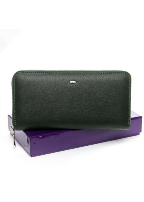 Большой женский кошелек  из мягкой натуральной кожи, зеленый