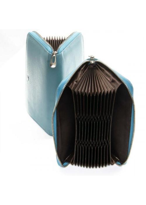 Большой женский кошелек  из мягкой натуральной кожи, голубой