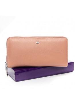 Большой женский кошелек  из мягкой натуральной кожи, розовый