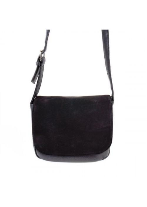 Стильная и компактная сумочка через плечо со вставкой из натуральной замши