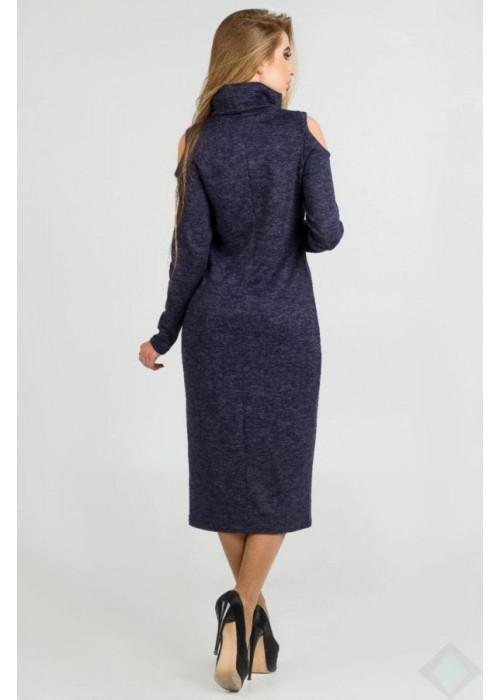 Ангоровое платье-гольф миди с открытыми плечами