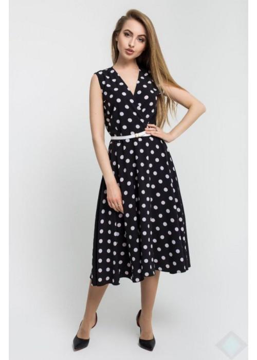 Платье А-силуэта без рукавов из легкого материала в крупный горох