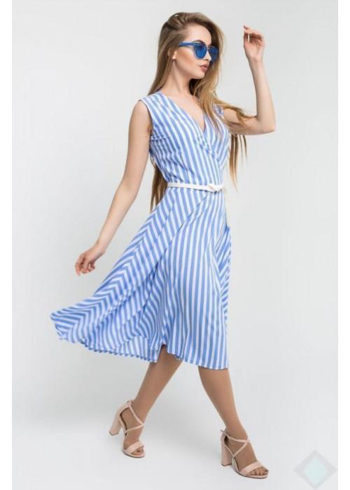 Платье А-силуэта без рукавов из легкого материала в полоску
