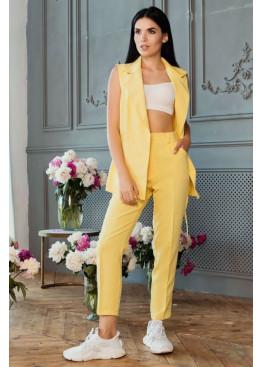 Элегантный костюм жилет с брюками Джемма, Желтый