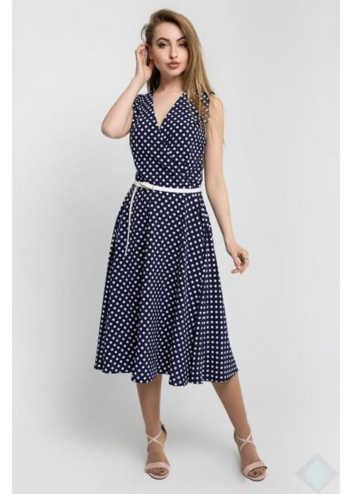 Платье А-силуэта без рукавов из легкого материала в мелкий горох