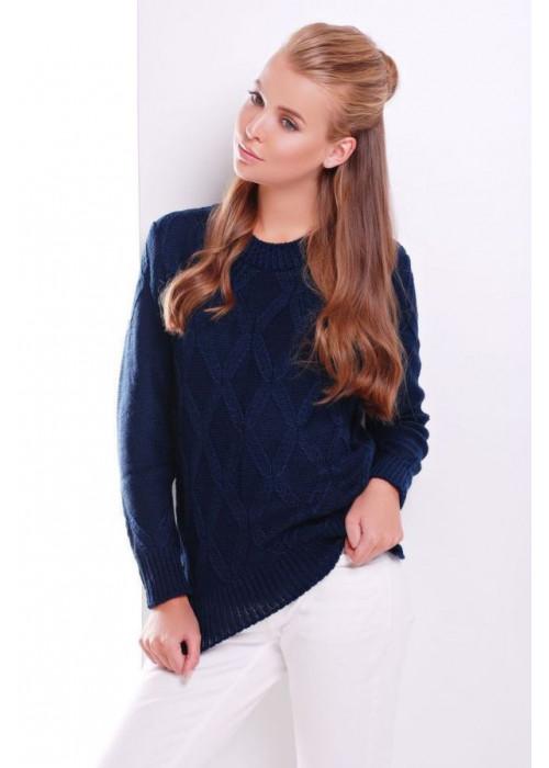 Стильный тёмно-синий женский свитер