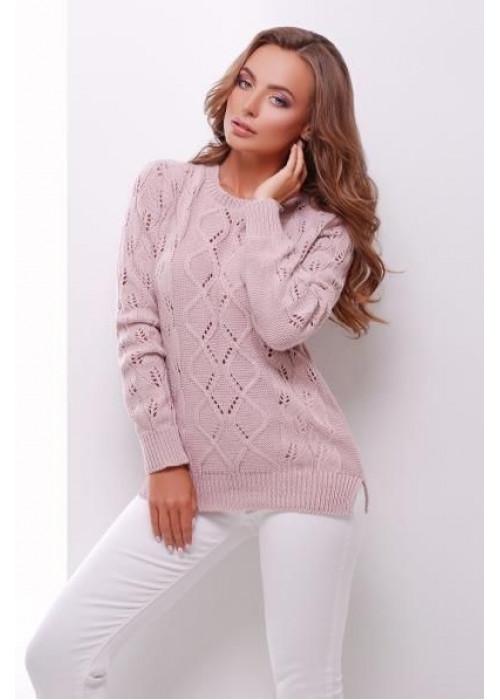 Пудровый свитер прямого силуэта из качественной мягкой пряжи