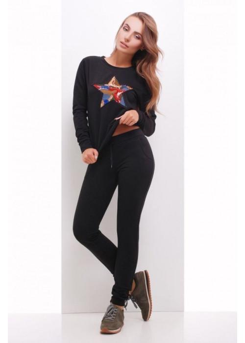 Модный спортивный костюм с апликацией в виде звезды из пайеток