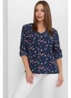 Женская блуза из софта, свободного кроя, темно-синий