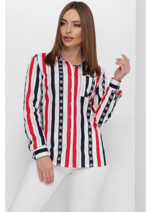 Женская классическая котоновая рубашка с принтом, красный