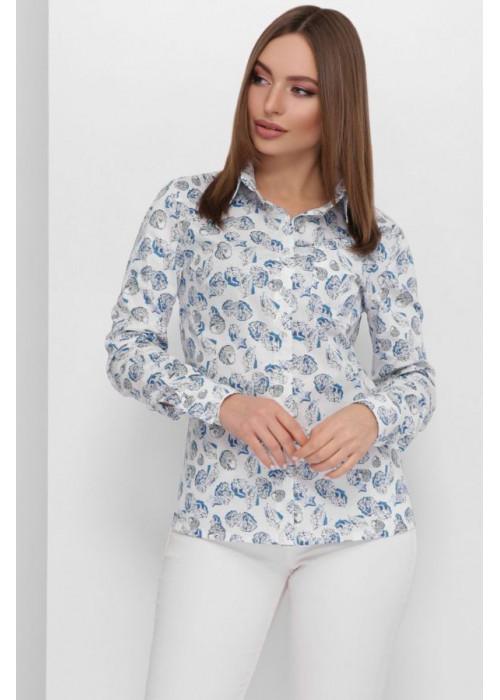 Женская классическая котоновая рубашка с принтом, синий